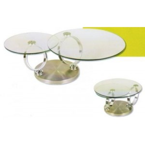 Table basse ronde pivotante double plateau - Table basse pivotante ...