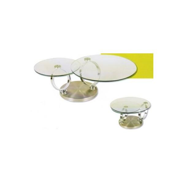 Table basse ronde pivotante double plateau for Table basse ronde plateau