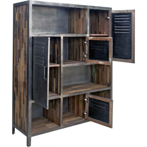 biblioth que industriel m tal et bois mundra. Black Bedroom Furniture Sets. Home Design Ideas