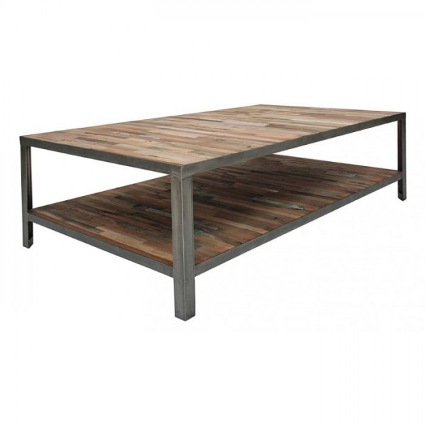 Table basse double plateau industriel mundra for Table basse plateau