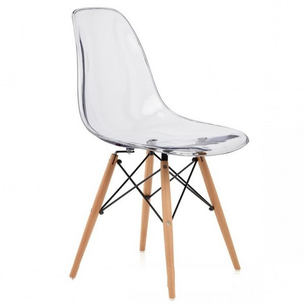 Lot de 4 Chaises design DS assise transparente