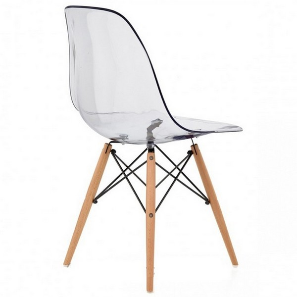 Lot de 4 chaises design ds assise transparente for Chaise transparente pied en bois