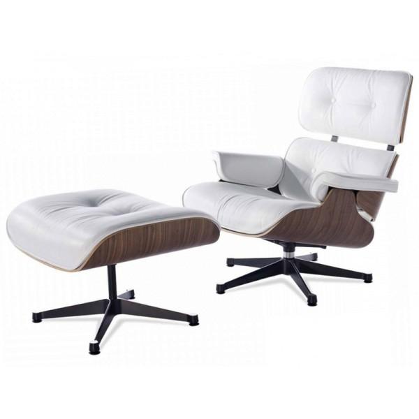 Fauteuil cuir blanc design lounge president pouf - Pouf cuir blanc design ...