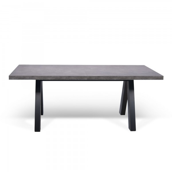 Table manger apex avec allonge effet noir gris b ton for Table a manger beton