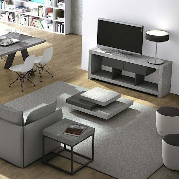 meuble tv design nara effet gris b ton. Black Bedroom Furniture Sets. Home Design Ideas