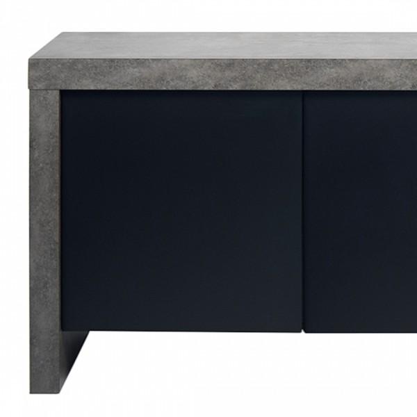 Buffet bas 3 portes design Kobe effet noir gris béton