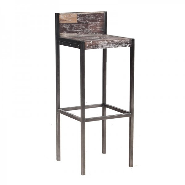 tabouret haut avec dossier industriel mundra. Black Bedroom Furniture Sets. Home Design Ideas